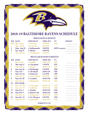 Baltimore Ravens 2018-19 Printable Schedule - Pacific Times