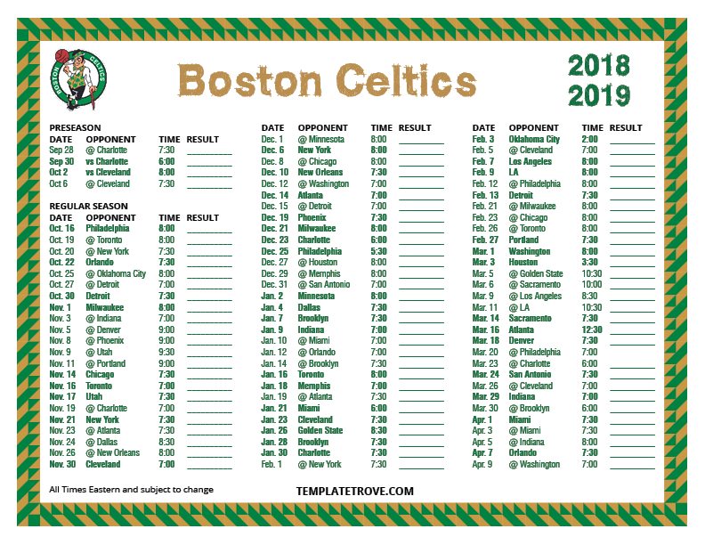 photograph about Boston Celtics Printable Schedule named Printable 2018-2019 Boston Celtics Plan