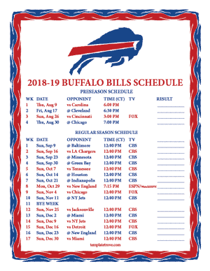Buffalo Bills 2018-19 Printable Schedule - Central Times