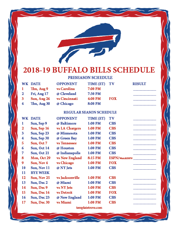 This is a photo of Challenger Buffalo Bills Schedule Printable