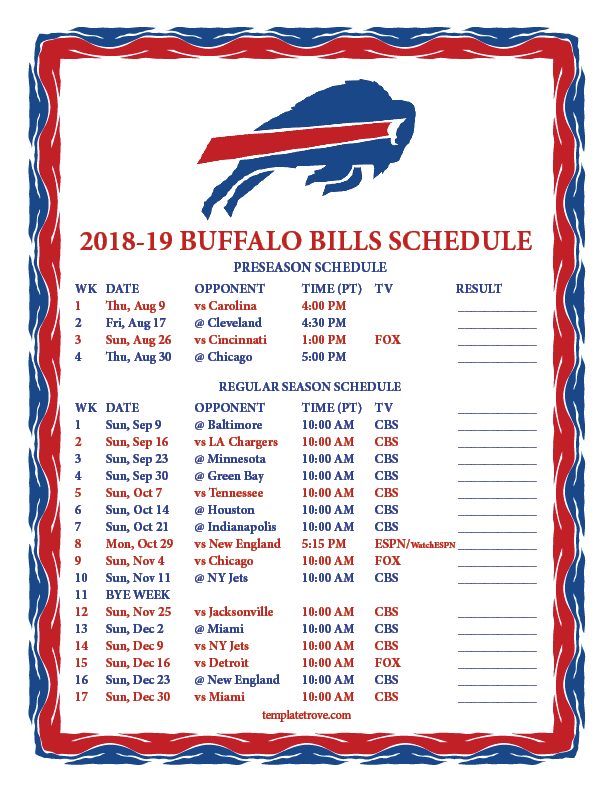 Modest image throughout buffalo bills printable schedule