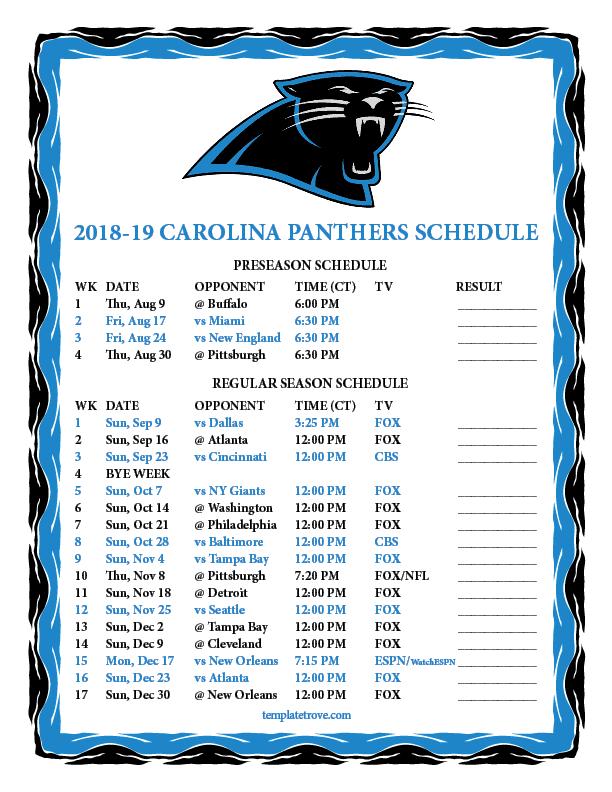 Printable 2018-2019 Carolina Panthers Schedule