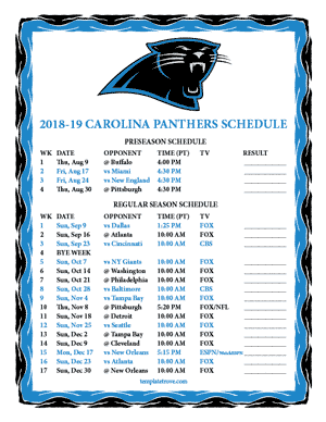 Carolina Panthers 2018-19 Printable Schedule - Pacific Times