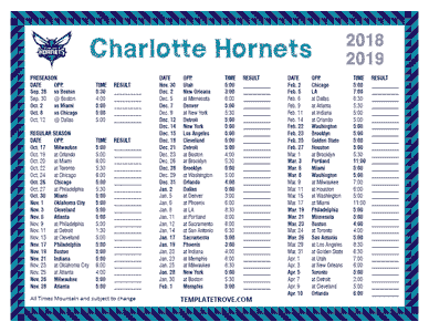 Charlotte Hornets 2018-19 Printable Schedule - Mountain Times