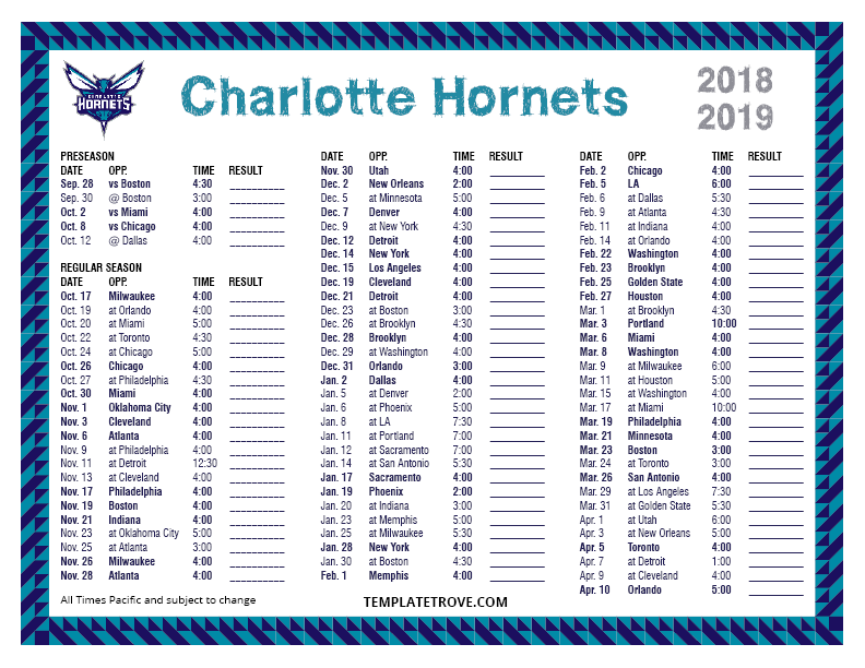 Printable 2018-2019 Charlotte Hornets Schedule