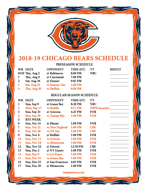 Chicago Bears Schedule 2019-20 Printable 2018 2019 Chicago Bears Schedule