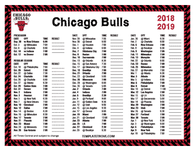 Printable 2018 2019 Chicago Bulls Schedule