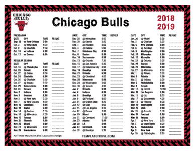 Printable 2018-2019 Chicago Bulls Schedule