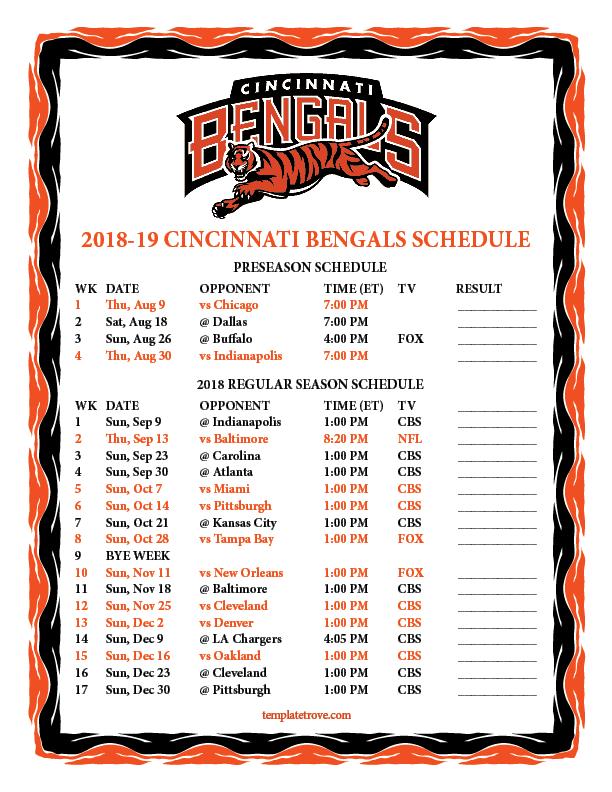 Printable 2018-2019 Cincinnati Bengals Schedule 0617133a3