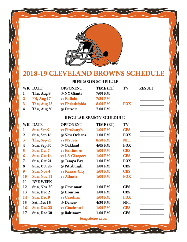 Printable 2018 2019 Cleveland Browns Schedule