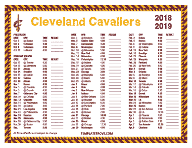 Cleveland Cavaliers 2018-19 Printable Schedule - Pacific Times