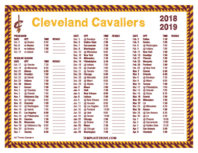 Cleveland Cavaliers 2018-19 Printable Schedule