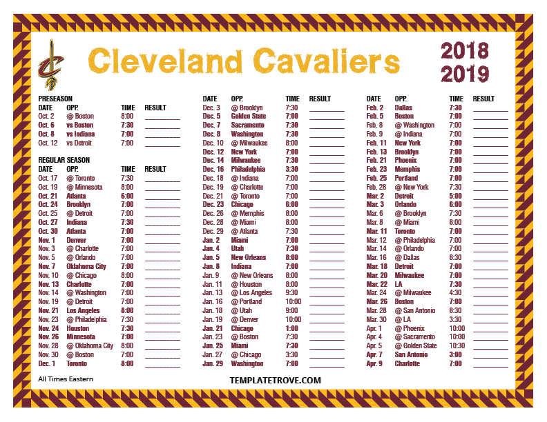 picture about Cleveland Cavaliers Printable Schedule referred to as Printable 2018-2019 Cleveland Cavaliers Plan