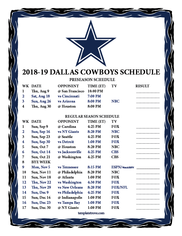 Dallas Cowboys Schedule For 2019 Printable 2018 2019 Dallas Cowboys Schedule