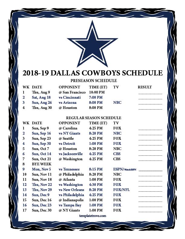 Printable 2018 2019 Dallas Cowboys Schedule