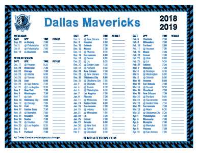 2018-19 Printable Dallas Mavericks Schedule - Central Times