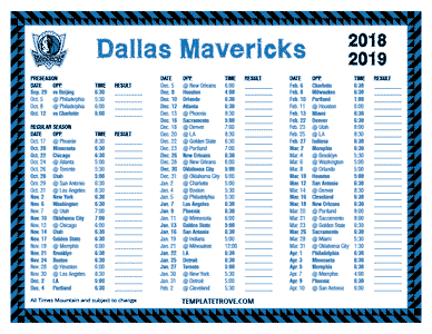 Dallas Mavericks 2018-19 Printable Schedule - Mountain Times