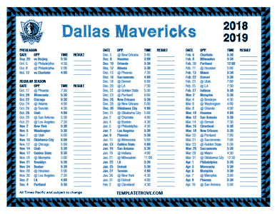 Dallas Mavericks 2018-19 Printable Schedule - Pacific Times