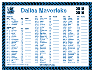 Dallas Mavericks 2018-19 Printable Schedule