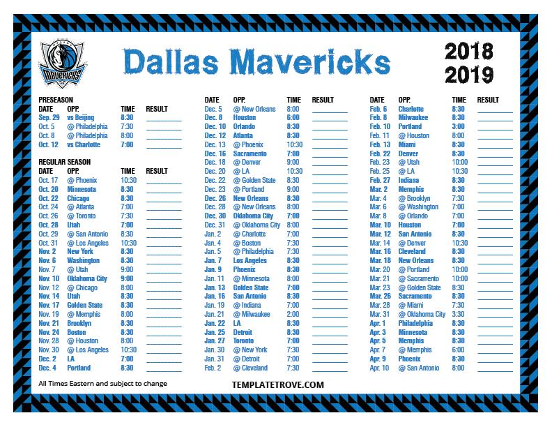 Mavericks Schedule 2019 Printable 2018 2019 Dallas Mavericks Schedule