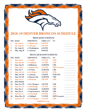 Denver Broncos 2018-19 Printable Schedule - Central Times