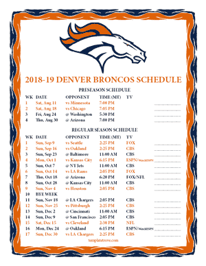 Denver Broncos 2018-19 Printable Schedule - Mountain Times