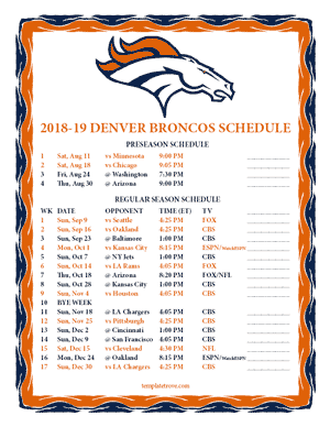 Denver Broncos 2018-19 Printable Schedule