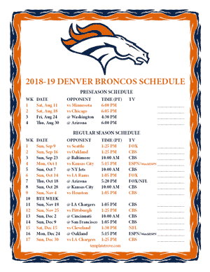Denver Broncos 2018-19 Printable Schedule - Pacific Times