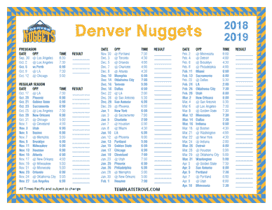 Denver Nuggets 2018-19 Printable Schedule - Pacific Times