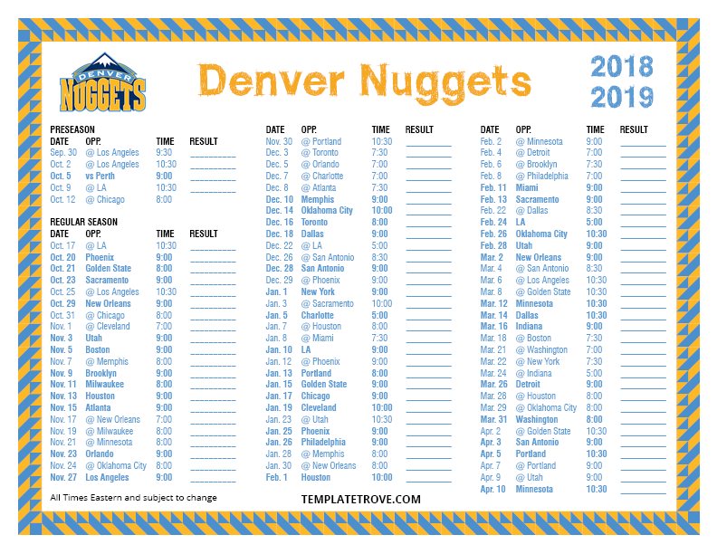 graphic regarding Okc Thunder Printable Schedule named Printable 2018-2019 Denver Nuggets Timetable