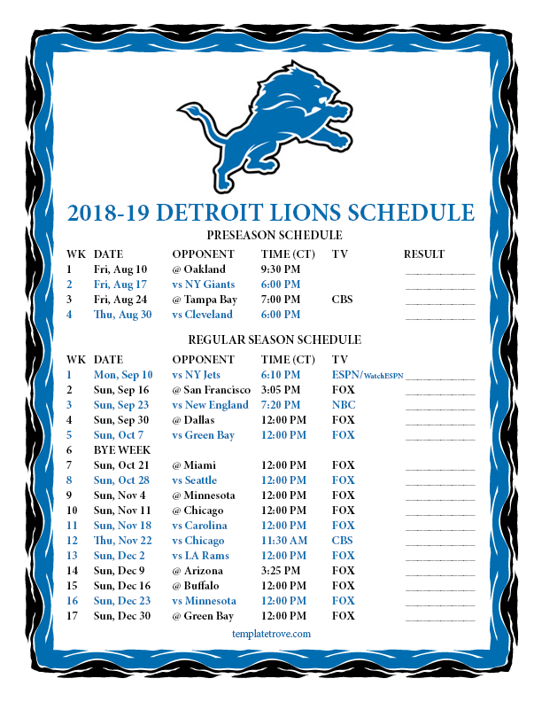 Gratifying image within detroit lions printable schedule