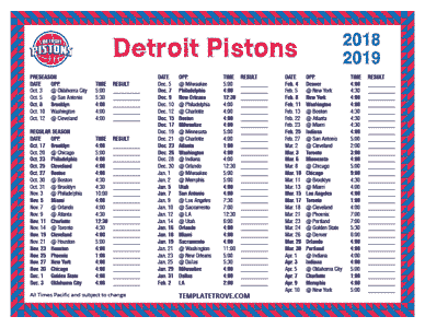 Detroit Pistons 2018-19 Printable Schedule - Pacific Times