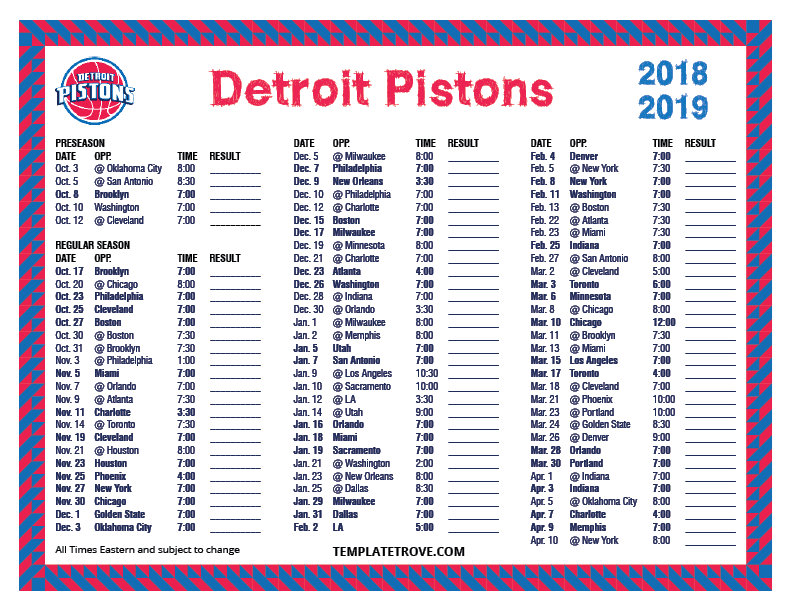 image about Chicago Bulls Schedule Printable called Printable 2018-2019 Detroit Pistons Routine