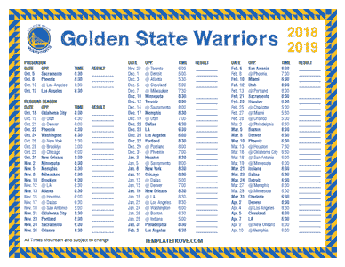Golden State Warriors 2018-19 Printable Schedule - Mountain Times