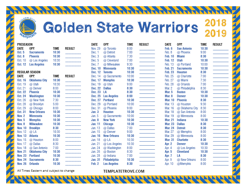 photograph regarding Warriors Schedule Printable titled Printable 2018-2019 Golden Region Warriors Timetable