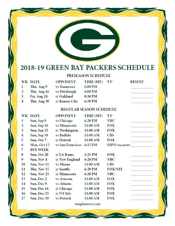 graphic relating to Nfl Week 6 Printable Schedule identified as Printable 2018-2019 Inexperienced Bay Packers Plan