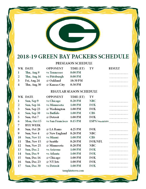 Packer 2019 Schedule Printable 2018 2019 Green Bay Packers Schedule