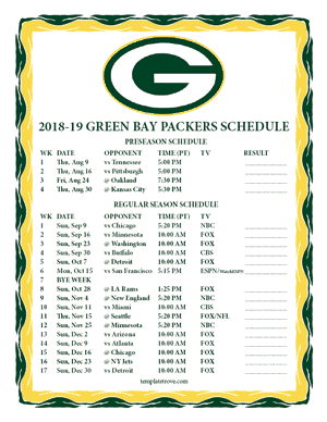 Green Bay Packers 2018-19 Printable Schedule - Pacific Times