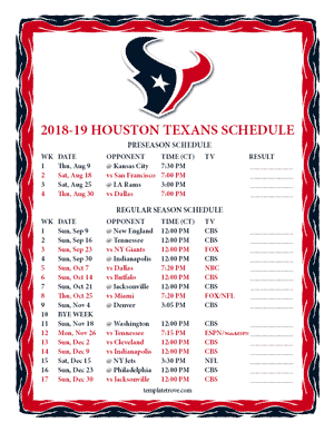 Houston Texans 2018-19 Printable Schedule - Central Times