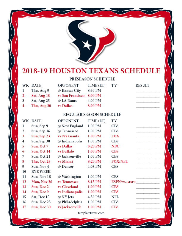 Printable 2018 2019 Houston Texans Schedule