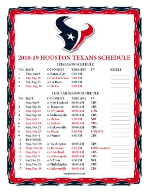 Houston Texans 2018-19 Printable Schedule - Pacific Times
