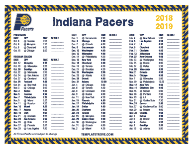 Clean image regarding printable pacers schedule