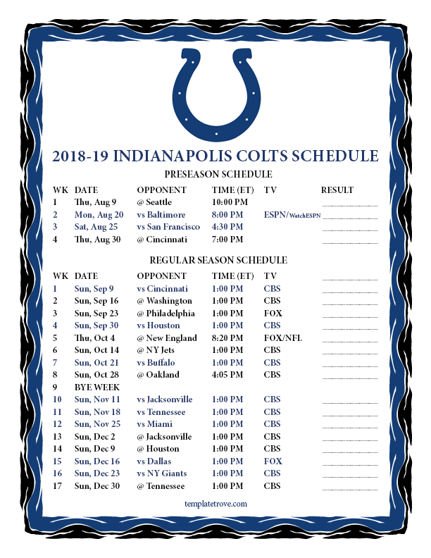 Printable 2018 2019 Indianapolis Colts Schedule