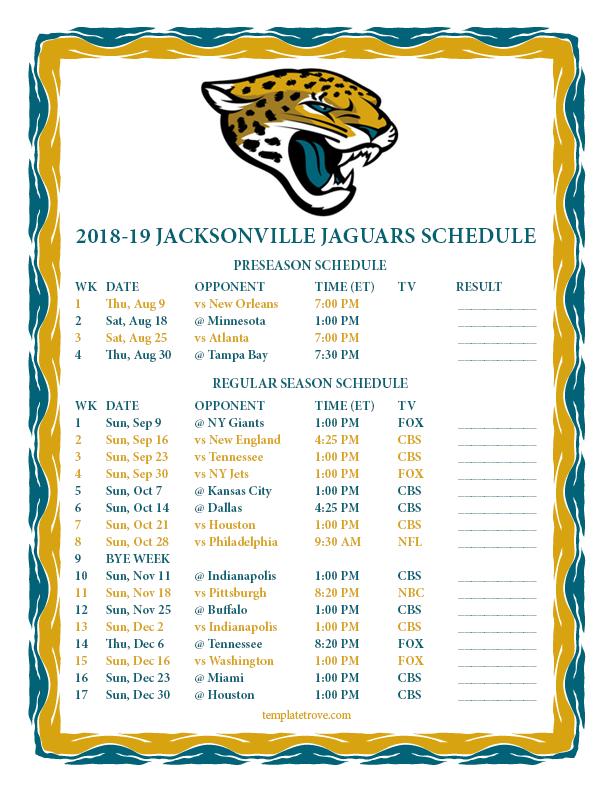 Jacksonville Jaguars 2018 19 Printable Schedule