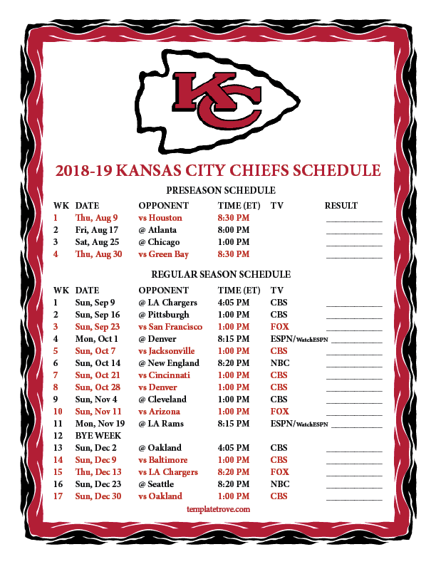 Kansas City Chiefs  Preseason Schedule