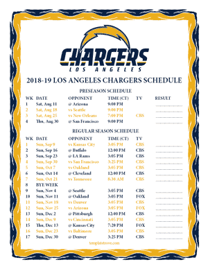 Los Angeles Chargers 2018-19 Printable Schedule - Central Times