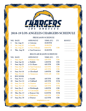 Los Angeles Chargers 2018-19 Printable Schedule