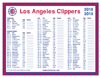 Los Angeles Clippers 2018-19 Printable Schedule - Pacific Times