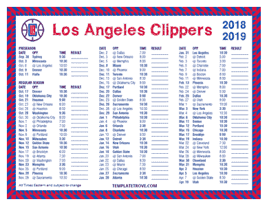 Los Angeles Clippers 2018-19 Printable Schedule