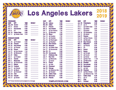 2018-19 Printable Los Angeles Lakers Schedule - Central Times